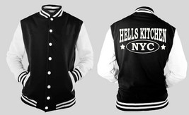 Hells Kitchen New York City Varsity Collage Baseball BLACK/WHITE Fleece Jacket - $29.69