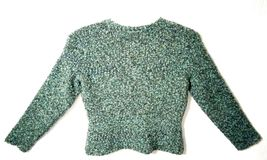 Talbots Petites Women's M Blue Green Wool Snap Buttons Sweater Cardigan image 6