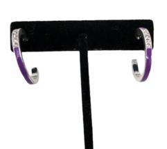 Avon Purple Enamel Rhinestone Hoop Earrings Be Spontaneous - $10.88