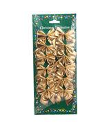 12 Pcs Mini 6cm Christmas Charms Decoration Ornaments Ribbon Bows Gold - $7.64