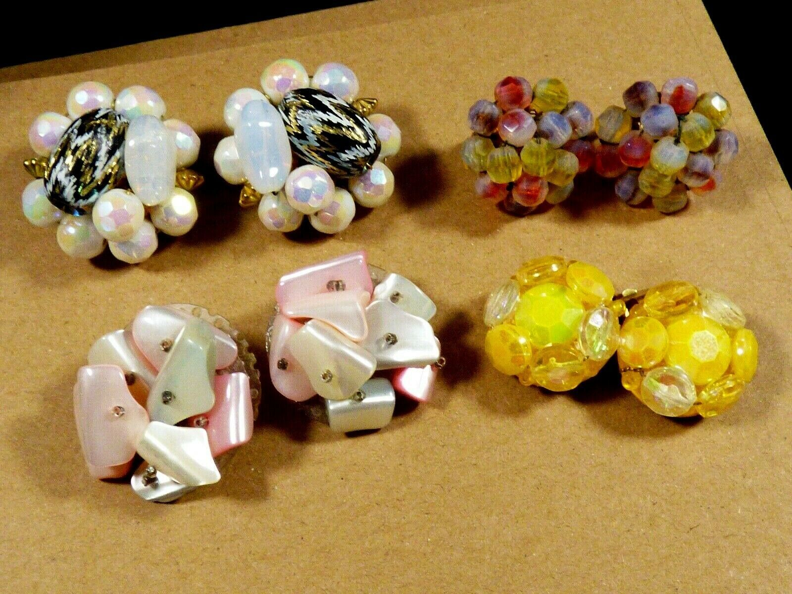Primary image for Lot of 4 W Germany Japan Vogue Signed Beads Cluster Glass Pearl clip earrings