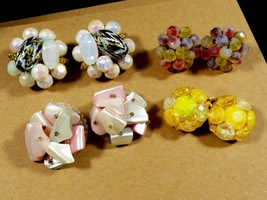 Lot of 4 W Germany Japan Vogue Signed Beads Cluster Glass Pearl clip ear... - $35.64