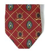 Tommy Hilfiger Italian Silk Tie Golf Burgundy Gold Made in USA - $12.84