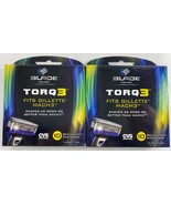 Lot of 2 BLADE TORQ3 For Gillette Mach3 5 Replacement Cartridges Per Box - $9.89