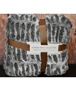 "Hudson Park Collection Sculpted Faux Fur Throw 50"" x 70"" Charcoal  $280 - $100.98"