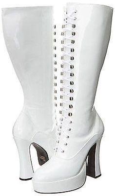 "Ellie Easy White Combat Lace Up Zipper Gothic Costume Punk Boots 5"" Heels Shoes"