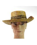 Vtg CHURCHILL LUBBOCK Brown Western Straw Panama Raffia Wide Brim Hat Me... - $29.69