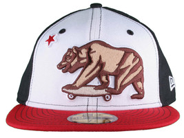 Dissizit California Skating Bear Black Red New Era 59FIFTY Fitted Baseba... - £16.87 GBP