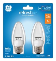 GE 40W Daylight (5000K) High Definition CA10 Blunt Tip Clear Medium Base... - $14.41