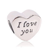 Couqcy 100% 925 Sterling Silver I Love You Heart Beads Fit Original Pand... - $8.19