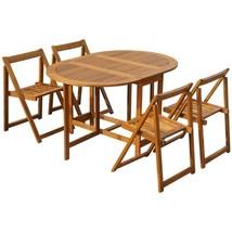 vidaXL 5 Piece Solid Acacia Wood Folding Outdoor Dining Set Garden Table... - $185.99