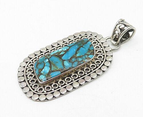 925 Sterling Silver - Vintage Turquoise Filigree Patterned Border Pendant- P6145