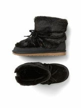 GAP Kids Girls Faux Fur Snow Black Boots Booties Size 3 Youth NWOT - $39.58