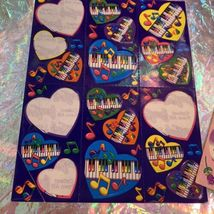 90s Lisa Frank Incomplete Sticker Sheet Pianos Ballet Shoes Hearts Guitars Music image 3