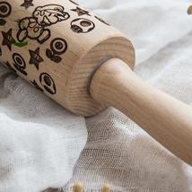 Wood Rolling Pin | Super Mario | Laser Engraved | Embossed Cookies Rolli... - $16.99