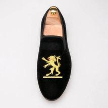 Handmade Men's Black Fashion Embroidered Velvet Slip Ons Loafer Shoes image 2