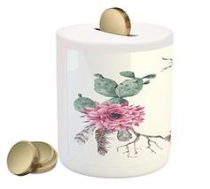 Succulent Piggy Bank by Lunarable, Summer Vintage Floral Wreath Boho Chi... - $30.63