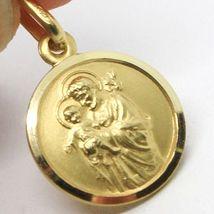 18K YELLOW GOLD ST SAINT SAN GIUSEPPE JOSEPH JESUS MEDAL MADE IN ITALY, 13 MM image 3