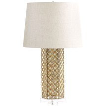 Horchow Modern Moroccan Gold Quatrefoil Woven Table Lamp Linen Shade New... - $187.11