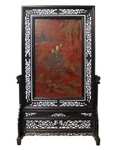 Chinese Lacquer Kid Ox Flowers Drawing Table Top Screen Display cs2444 - $3,150.00