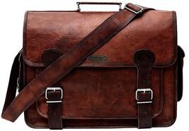 "Men's 18"" Long Bag Vintage Leather Full Flap Messenger Laptop Satchel Sh... - $64.34"