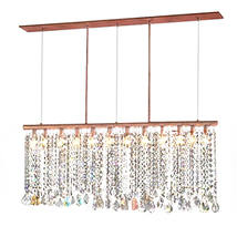 "AM4600: Dangling Crystal Copper Pipe Chandelier (20""-50"" W x 42"" H) $1,420+ - $1,420.00"