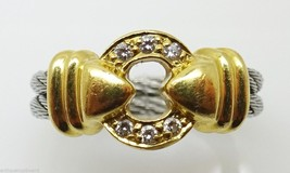 Charriol 18k Yellow and Silver Genuine Natural Diamond Ring (#3230) - $384.75