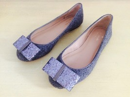 KATE SPADE Wool Grey Flats with Glitter Bow New Sz. 5 - $62.40