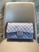 AUTH CHANEL LAVENDER PURPLE LAMBSKIN QUILTED JUMBO DOUBLE FLAP BAG SILVER HW image 1