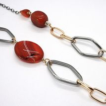 925 Silver Necklace, Burnished and Pink, Carnelian Red, Length 70 cm image 5