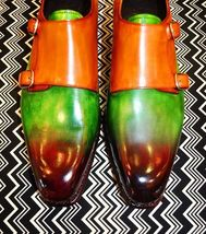 Bespoke inspired handmade leather double monk shoes for men custom patina finish - $169.99 - $219.99