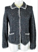 VILLAGER LIZ CLAIBORNE WOMENS  Medium  L/S BLACK WHITE CARDIGAN SWEATER (Z) - $34.77