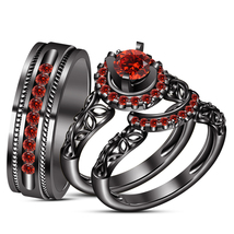 Red Garnet Womens Engagement Ring And His Her Trio Ring Set 925 Sterling Silver - $171.99