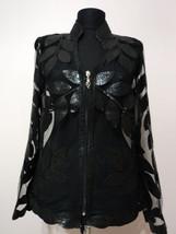 V Neck Black Snake Pattern Leather Leaf Jacket Womens All Sizes Zipper Short D10 - $150.00