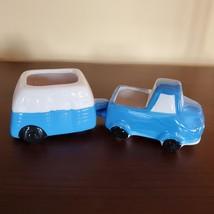 Vehicle Planters, set of 4 ceramic plant pots, RV Camper Blue Red Truck, VanLife image 3
