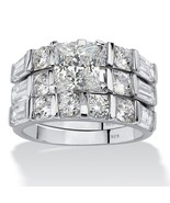 4.74 TCW CZ .925 Sterling Silver 3-Piece Bridal Ring Set - $62.82
