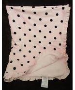Carter's Baby Blanket Pink Black Polka Dot Spots Ruffle Soft Velour - $19.96
