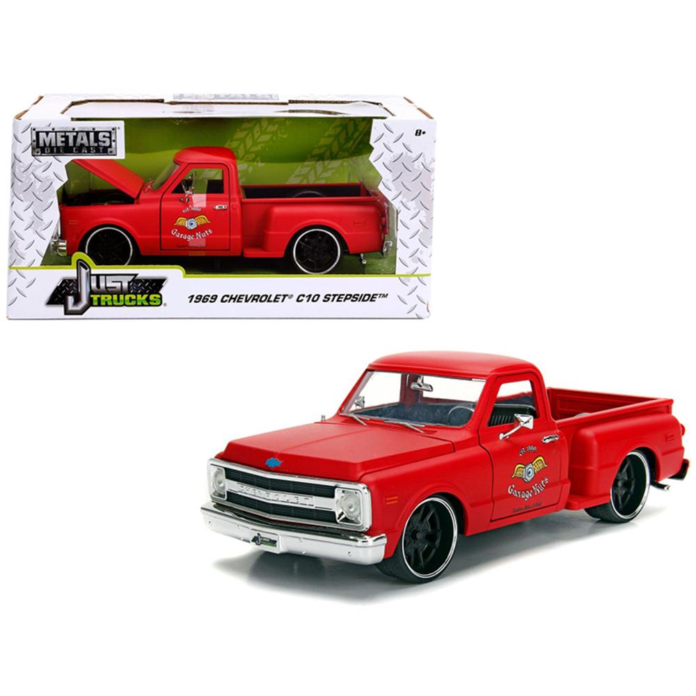 1969 Chevrolet C10 Stepside Pickup Truck Matt Red Garage Nuts Just Trucks Series
