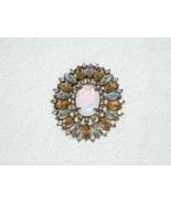 VINTAGE NANCY & RISE (N.R.) AURORA BOREALIS CRYSTAL & MOONSTONE BROOCH P... - $49.50