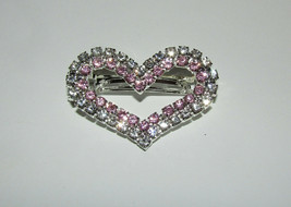 Heart Barrette French Hair Clip New Silver Tone Pink Clear Rhinestones J... - $12.86