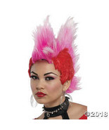 Double Mohawk Wig Black Red Bl Halloween Costume - $16.61