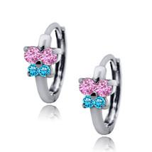 Women/Childrens 14K WG Birthstone Pink/Blue Topaz Huggie Butterfly Earrings - $24.69+