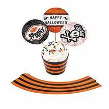 BLACK & ORANGE CUPCAKE COLLARS W/PICKS - Party Supplies - 100 Pieces - $8.19