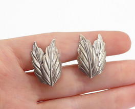 DANECRAFT 925 Silver - Vintage Dark Tone Floral Leaf Non Pierce Earrings - E9933 - $28.05