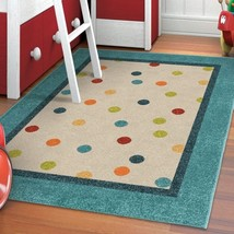 Carolina Weavers Playroom Collection Dotted Border Teal Area Rug (3'10 x... - $123.91