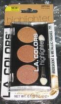 LA COLOR Trio Highlighter Palette Powder Iridescent Metallic Finish`TIME... - $3.63