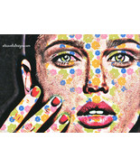 flower Goddess womans face original digital art print modern fantasy sur... - $6.99