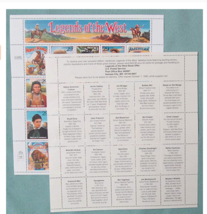 Legends of the West Complete Pane of Twenty 29 Cent Stamps Scott 2869 By... - $11.52