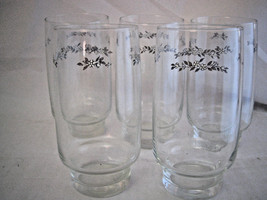 """5 Vintage GlassTumblers with flowers Gray Blue Floral Pattern 5 5/8"""" H - $8.79"""