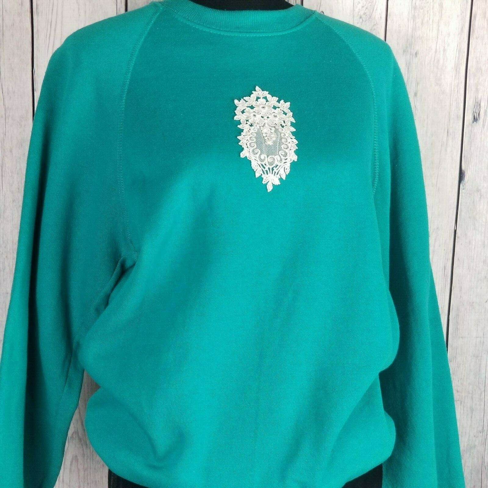 Sturdy Sweats By Lee Teal Textured Sweatshirt Large Vintage Lace Applique